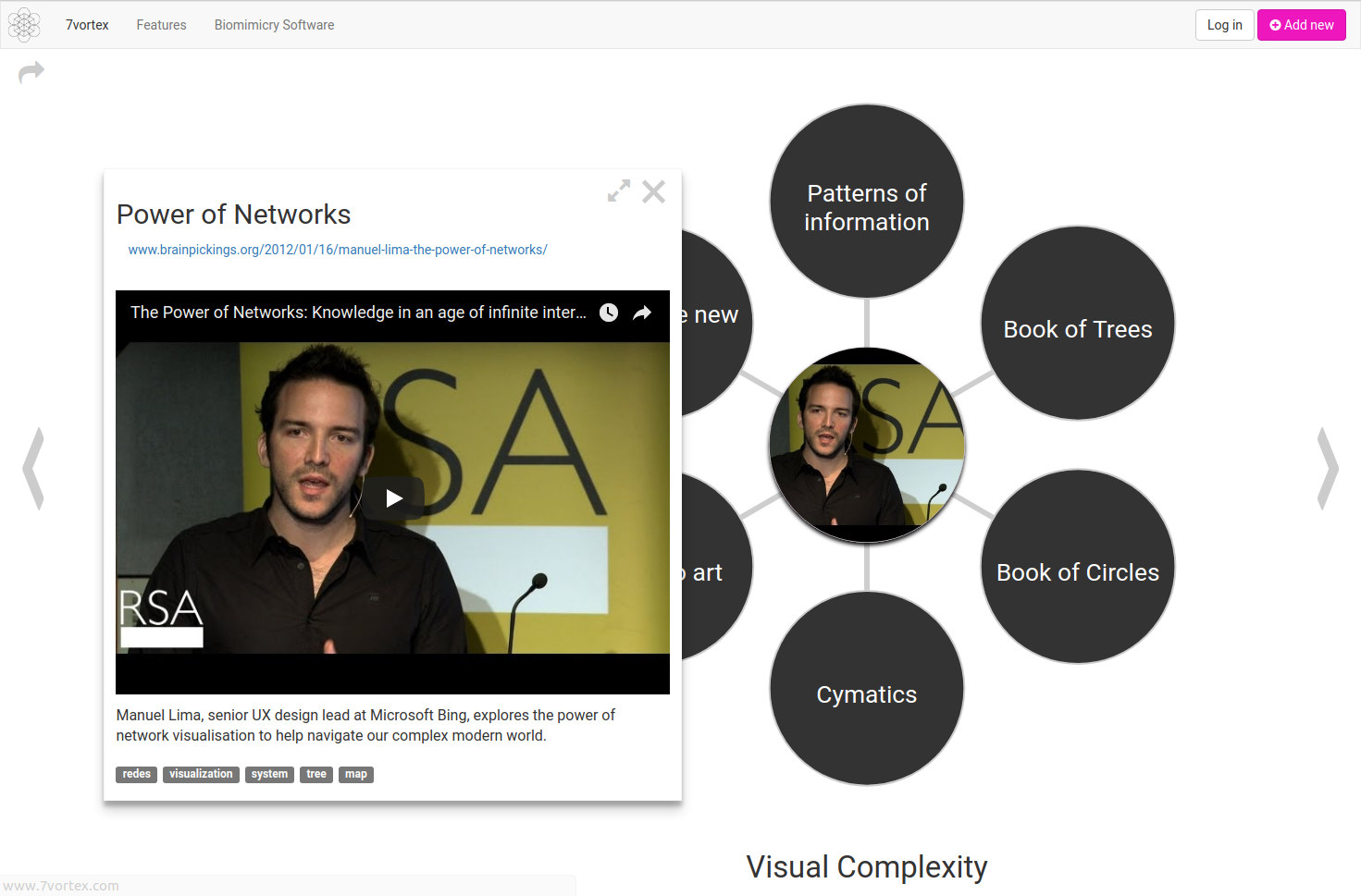 Example of a 7VORTEX presentation about Visual Complexity