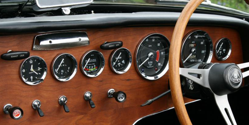 Lotus Elan Dashboard © Smiths Instruments https://www.smiths-instruments.co.uk/blog/classic-lotus-elan-corners-the-sixties